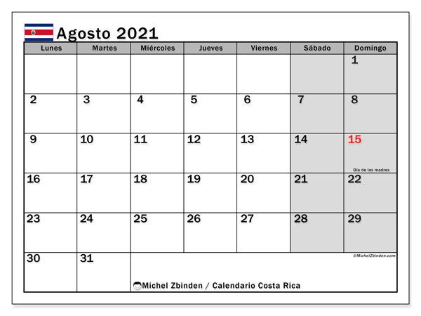 Calendario agosto 2021, con días feriados de Costa Rica. Calendario para imprimir gratis con días festivos.