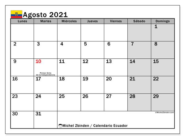 Calendario agosto 2021, con días feriados en Ecuador. Calendario vacaciones y festivos para imprimir gratis.