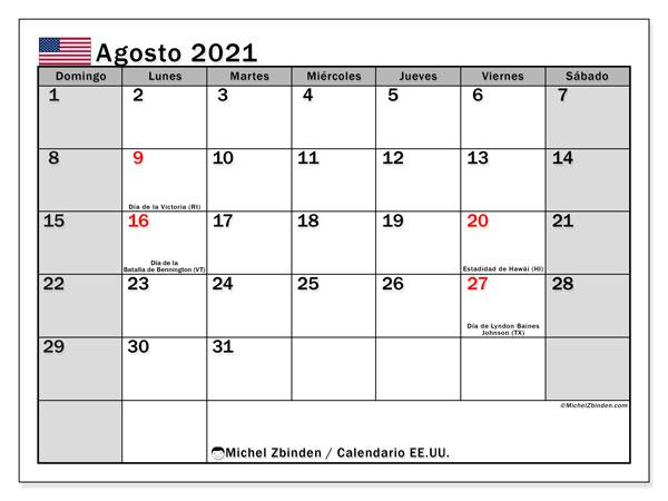 Calendario agosto 2021, con días feriados de EE.UU.. Calendario vacaciones y festivos para imprimir gratis.