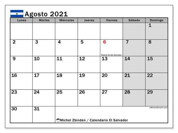 Calendario agosto 2021, con días feriados en El Salvador. Calendario vacaciones y festivos para imprimir gratis.