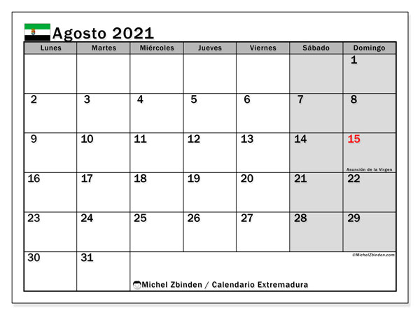 Calendario agosto 2021, con días feriados en Extremadura. Calendario para imprimir gratis con días festivos.