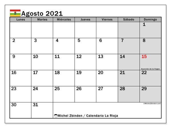 Calendario agosto 2021, con días feriados en La Rioja. Calendario vacaciones y festivos para imprimir gratis.