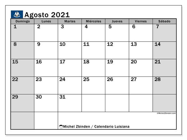 Calendario agosto 2021, con días feriados en Luisiana. Calendario para imprimir gratis con días festivos.