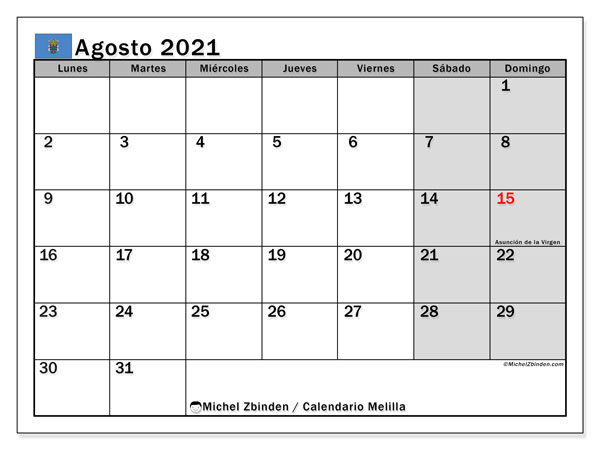 Calendario agosto 2021, con días feriados en Melilla. Calendario para imprimir gratis con días festivos.