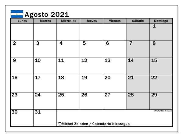 Calendario agosto 2021, con días feriados en Nicaragua. Calendario vacaciones y festivos para imprimir gratis.