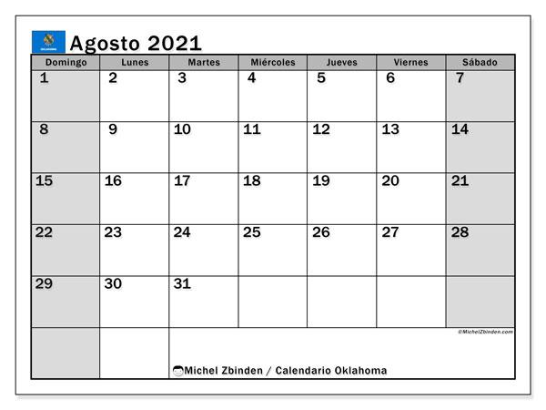 Calendario agosto 2021, con días feriados de Oklahoma. Calendario vacaciones y festivos para imprimir gratis.