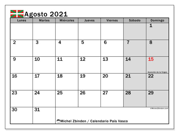Calendario agosto 2021, con días feriados en el País Vasco. Calendario vacaciones y festivos para imprimir gratis.