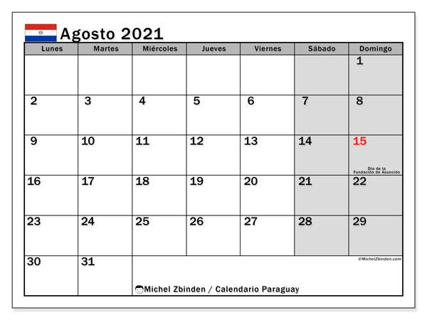 Calendario agosto 2021, con días feriados en Paraguay. Calendario para imprimir gratis con días festivos.
