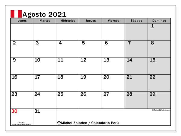 Calendario agosto 2021, con días feriados en Perú. Calendario vacaciones y festivos para imprimir gratis.