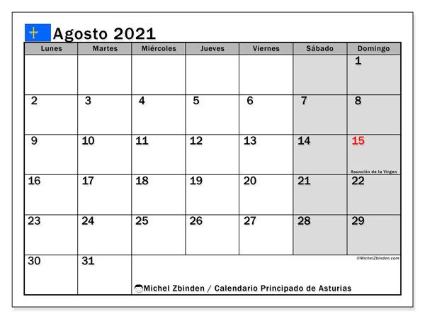 Calendario agosto 2021, con días feriados del Principado de Asturias. Calendario para imprimir gratis con días festivos.