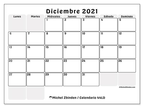 Calendario diciembre 2021, 44LD. Calendario imprimible gratis.