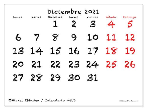 Calendario diciembre 2021, 46LD. Calendario para el mes para imprimir gratis.