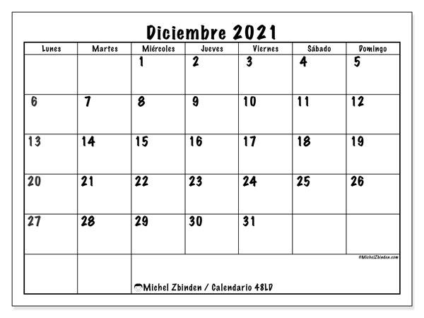 "Calendario ""48LD"" diciembre de 2021 para imprimir   Michel Zbinden ES"