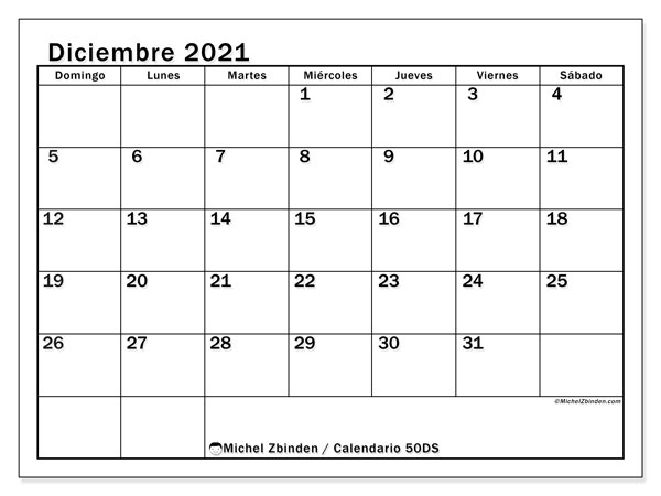 "Calendario ""50DS"" diciembre de 2021 para imprimir   Michel Zbinden ES"