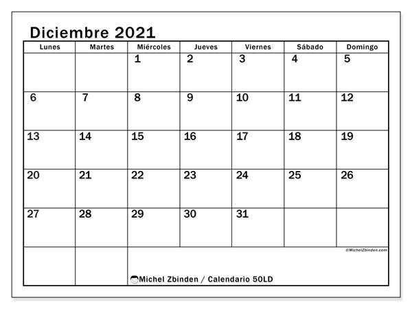 Calendario diciembre 2021, 50LD. Calendario gratuito para imprimir.
