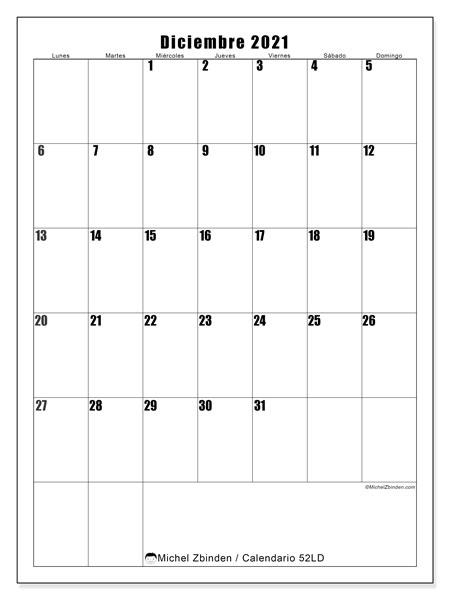 Calendario diciembre 2021, 52LD. Calendario mensual para imprimir gratis.