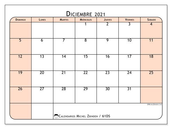 Calendario diciembre 2021, 61DS. Calendario para imprimir gratis.
