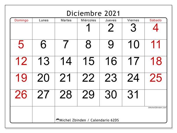 "Calendario ""62DS"" diciembre de 2021 para imprimir   Michel Zbinden ES"