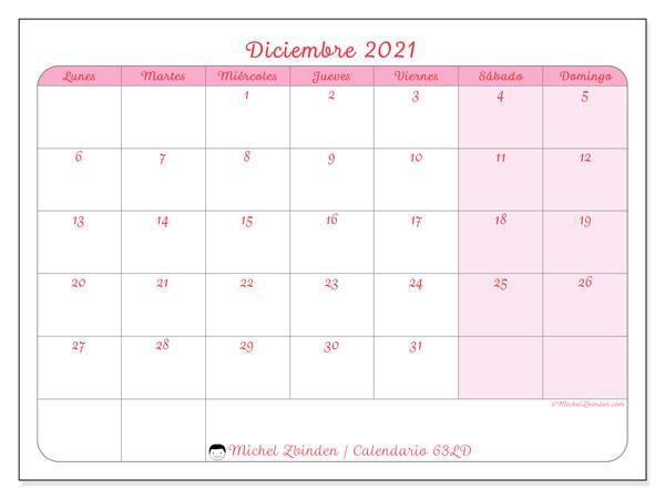 Calendario diciembre 2021, 63LD. Almanaque para imprimir gratis.