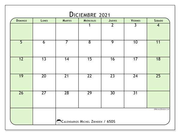 Calendario diciembre 2021, 65DS. Almanaque para imprimir gratis.