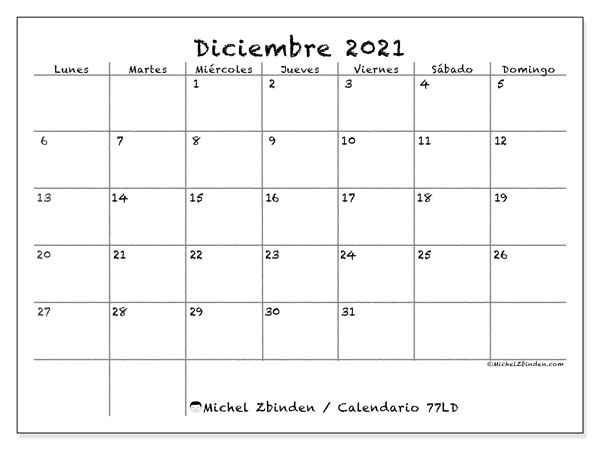 Calendario diciembre 2021, 77LD. Planificación para imprimir gratis.