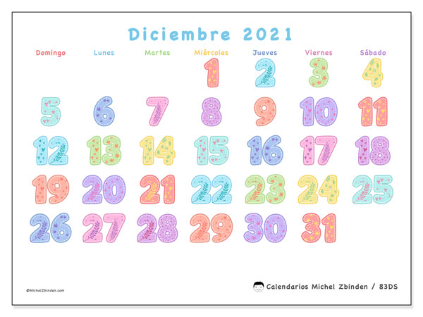 Calendario 83DS, diciembre  de 2021, calendario mensual y Array