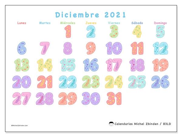 Calendario diciembre 2021, 83LD. Calendario para imprimir gratis.