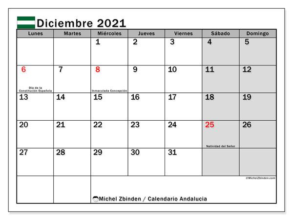 Calendario diciembre 2021, con días feriados en Andalucía. Calendario para imprimir gratis con días festivos.
