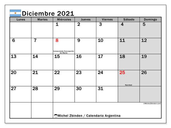 Calendario diciembre 2021, con días feriados en Argentina. Calendario vacaciones y festivos para imprimir gratis.