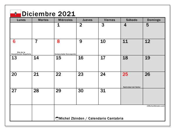 Calendario diciembre 2021, con días feriados en Cantabria. Calendario vacaciones y festivos para imprimir gratis.