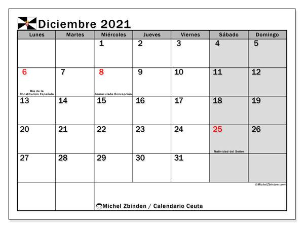 Calendario diciembre 2021, con días feriados en Ceuta. Calendario para imprimir gratis con días festivos.