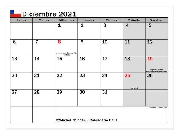 Calendario diciembre 2021, con días feriados en Chile. Calendario vacaciones y festivos para imprimir gratis.