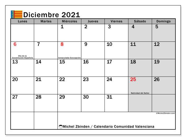 Calendario diciembre 2021, con días feriados de la Comunidad Valenciana. Calendario vacaciones y festivos para imprimir gratis.