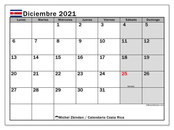 Calendario diciembre 2021, con días feriados de Costa Rica. Calendario para imprimir gratis con días festivos.