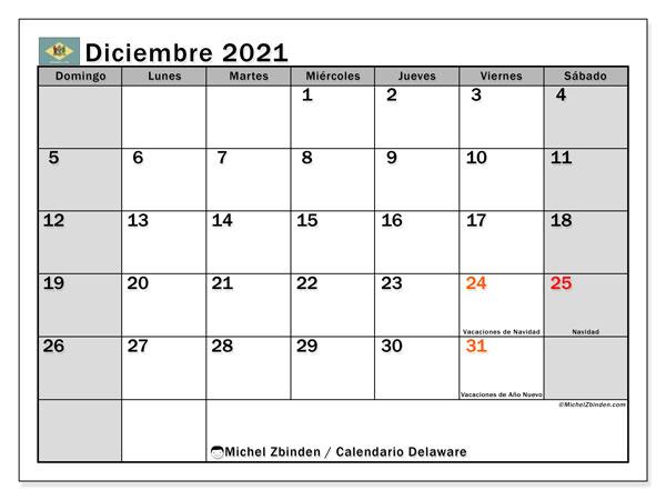Calendario diciembre 2021, con días feriados en Delaware. Calendario vacaciones y festivos para imprimir gratis.