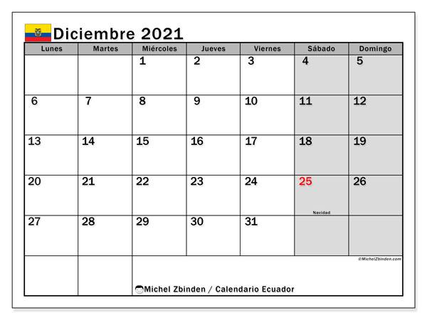 Calendario diciembre 2021, con días feriados en Ecuador. Calendario para imprimir gratis con días festivos.