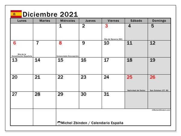 Calendario diciembre 2021, con días feriados en España. Calendario para imprimir gratis con días festivos.