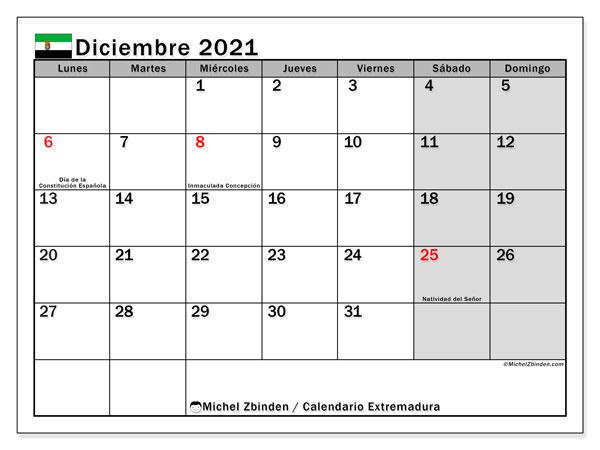 Calendario diciembre 2021, con días feriados en Extremadura. Calendario vacaciones y festivos para imprimir gratis.