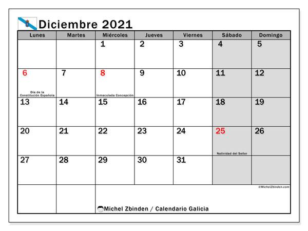 Calendario diciembre 2021, con días feriados en Galicia. Calendario para imprimir gratis con días festivos.