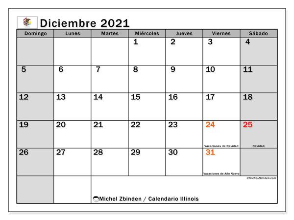 Calendario diciembre 2021, con días feriados en Illinois. Calendario vacaciones y festivos para imprimir gratis.