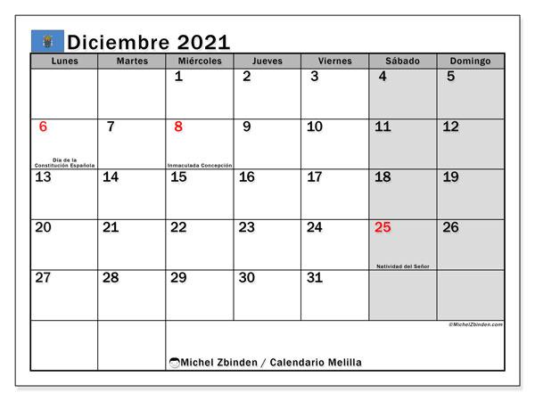 Calendario diciembre 2021, con días feriados en Melilla. Calendario para imprimir gratis con días festivos.