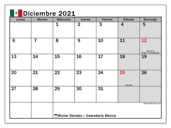 Calendario diciembre 2021, con días feriados de México. Calendario para imprimir gratis con días festivos.