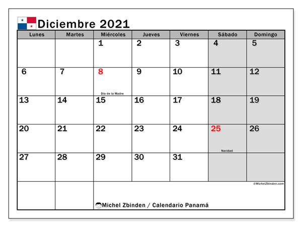 Calendario diciembre 2021, con días feriados de Panamá. Calendario vacaciones y festivos para imprimir gratis.