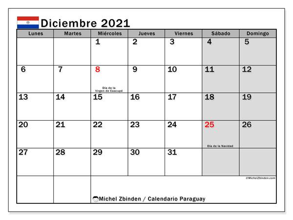 Calendario diciembre 2021, con días feriados en Paraguay. Calendario vacaciones y festivos para imprimir gratis.