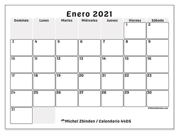Calendario enero 2021, 44DS. Calendario gratuito para imprimir.