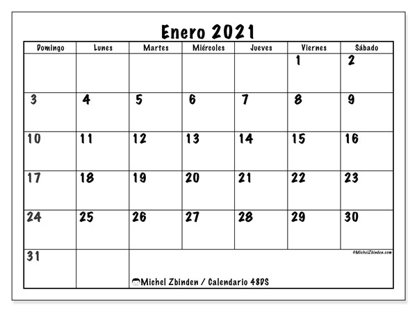 Calendario enero 2021, 48DS. Almanaque para imprimir gratis.
