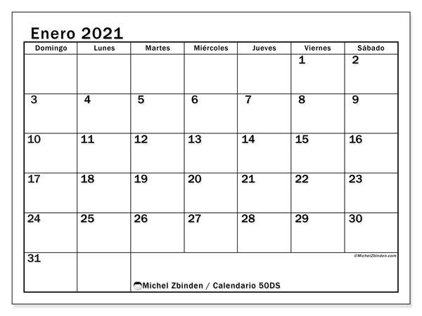 Calendario enero 2021, 50DS. Calendario para imprimir gratis.