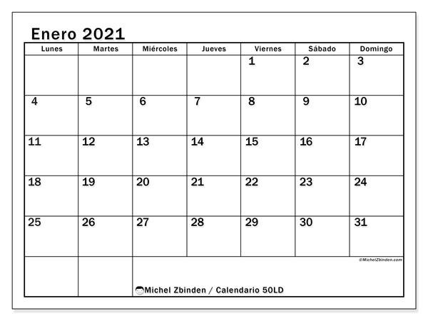 """Calendario """"50LD"""" enero de 2021 para imprimir   Michel Zbinden ES"""