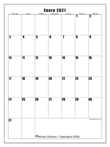 """Calendario """"52DS"""" enero de 2021 para imprimir   Michel Zbinden ES"""