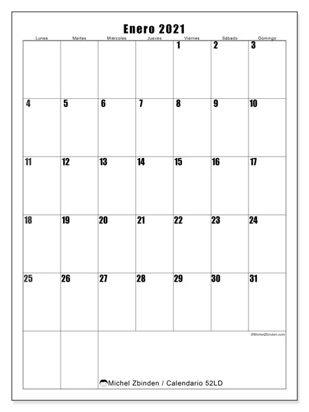 Calendario enero 2021, 52LD. Planificación para imprimir gratis.